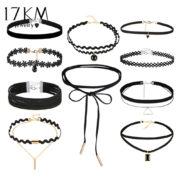 17KM-10-PCS-Set-New-Gothic-Tattoo-Leather-Choker-Necklaces-Set-for-Women-Hollow-Out-Black (4)