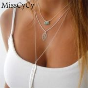 MissCyCy-Fashion-Simple-Necklaces-Leaf-Long-Pendant-Necklaces-3-Layer-Chain-Necklace-multilayer-Necklaces (1)