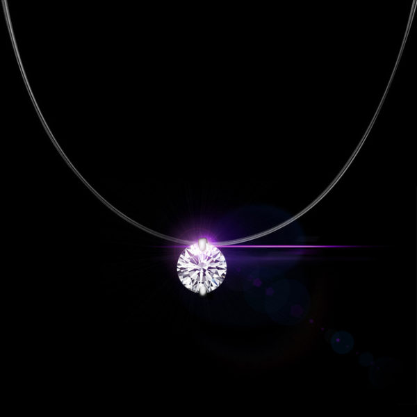 Qcooljly silver color dazzling zircon necklace and invisible qcooljly silver color dazzling zircon necklace and invisible transparent fishing line simple pendant necklace jewelry aloadofball Images