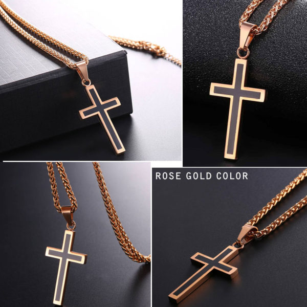 U7-Cross-Enamel-Pendant-Necklace-Stainless-Steel-Black-Gold-Color-For-Men-Women-Religious-Christian-Jewelry